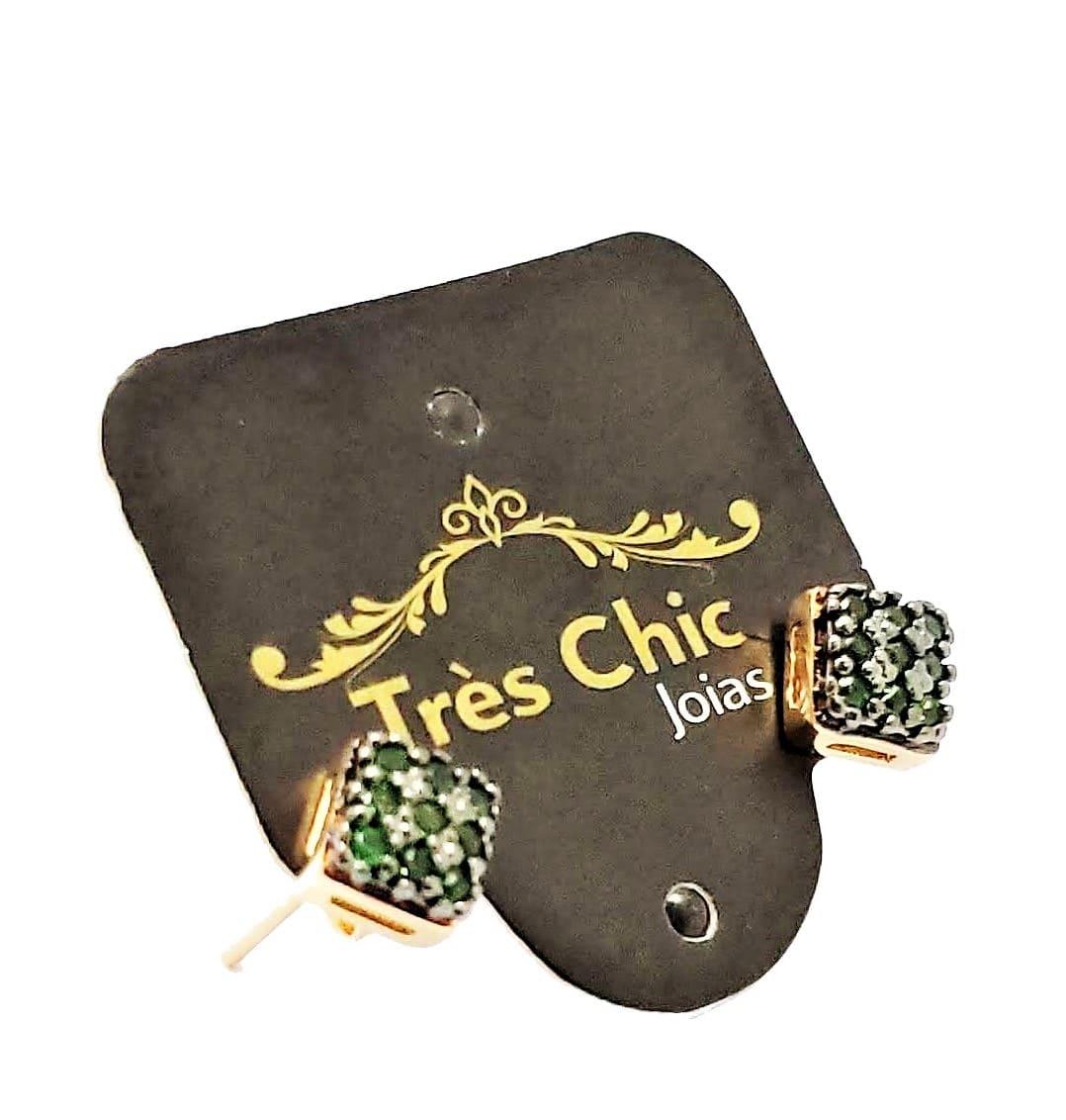 Brincos Zirconias Esmeralda Banho Ouro 18k 4581