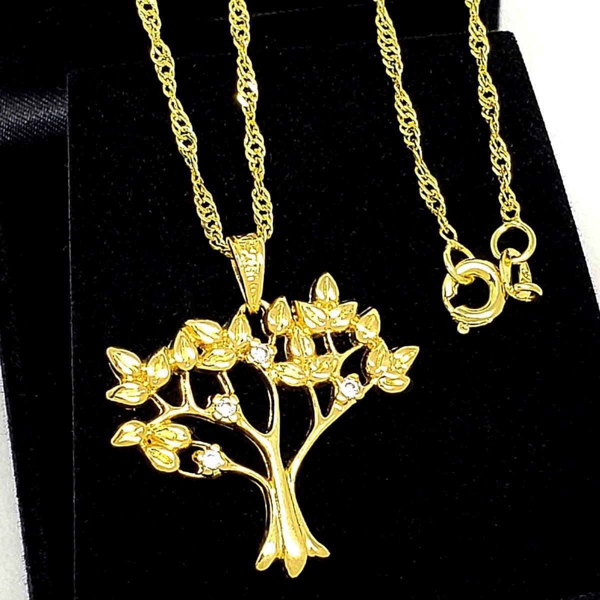 Colar Árvore Da Vida Com Cravejado De Zirconias Banho De Ouro 18k 1294