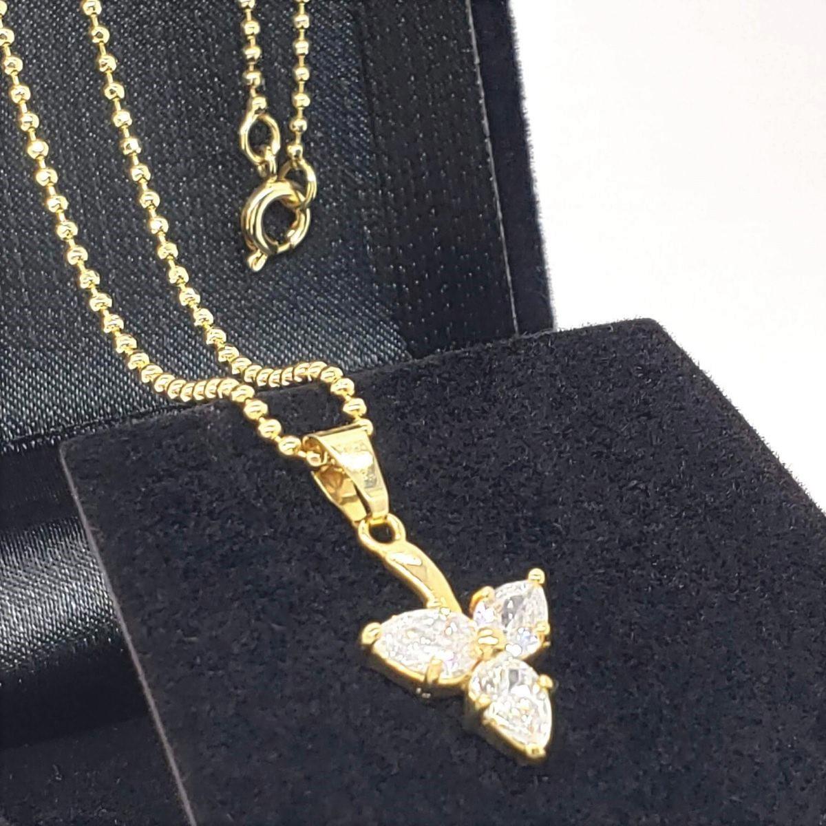 Colar Bolinhas Flor De Zirconias Banho De Ouro 18k 2168