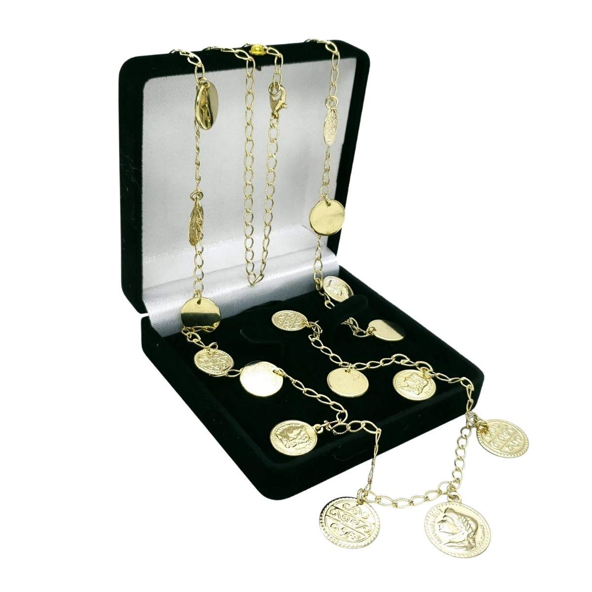 Colar Ciganinha Medalhas Moedas 1m Banho Ouro 18k 4683
