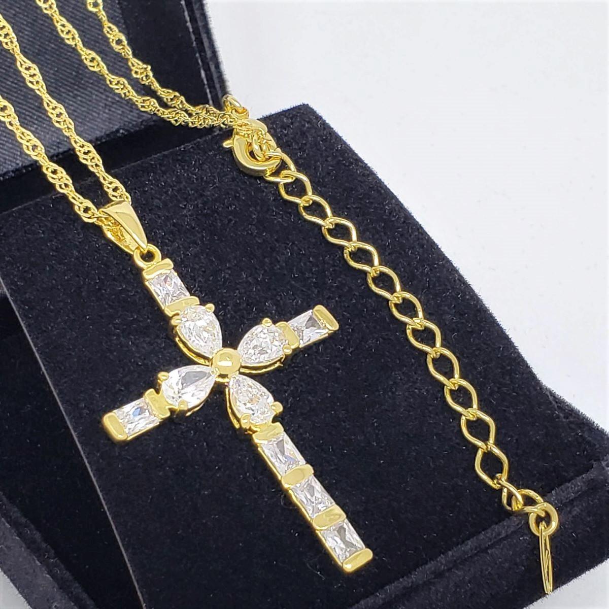 Colar Com Cruz De Zirconias Banho De Ouro 18k 1254