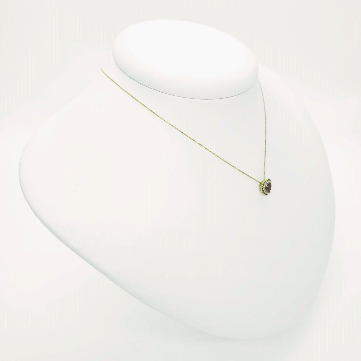 Colar Com Pingente Coração Cravejado De Zirconias Banho De Ouro 18k 4021
