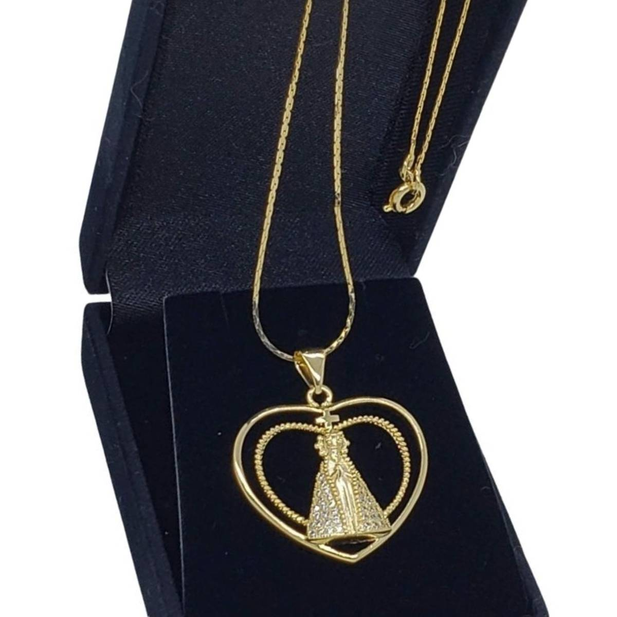 Colar Coração Nossa Senhora Aparecida Cravejado De Zirconias Cristal Banho De Ouro 18k 1849