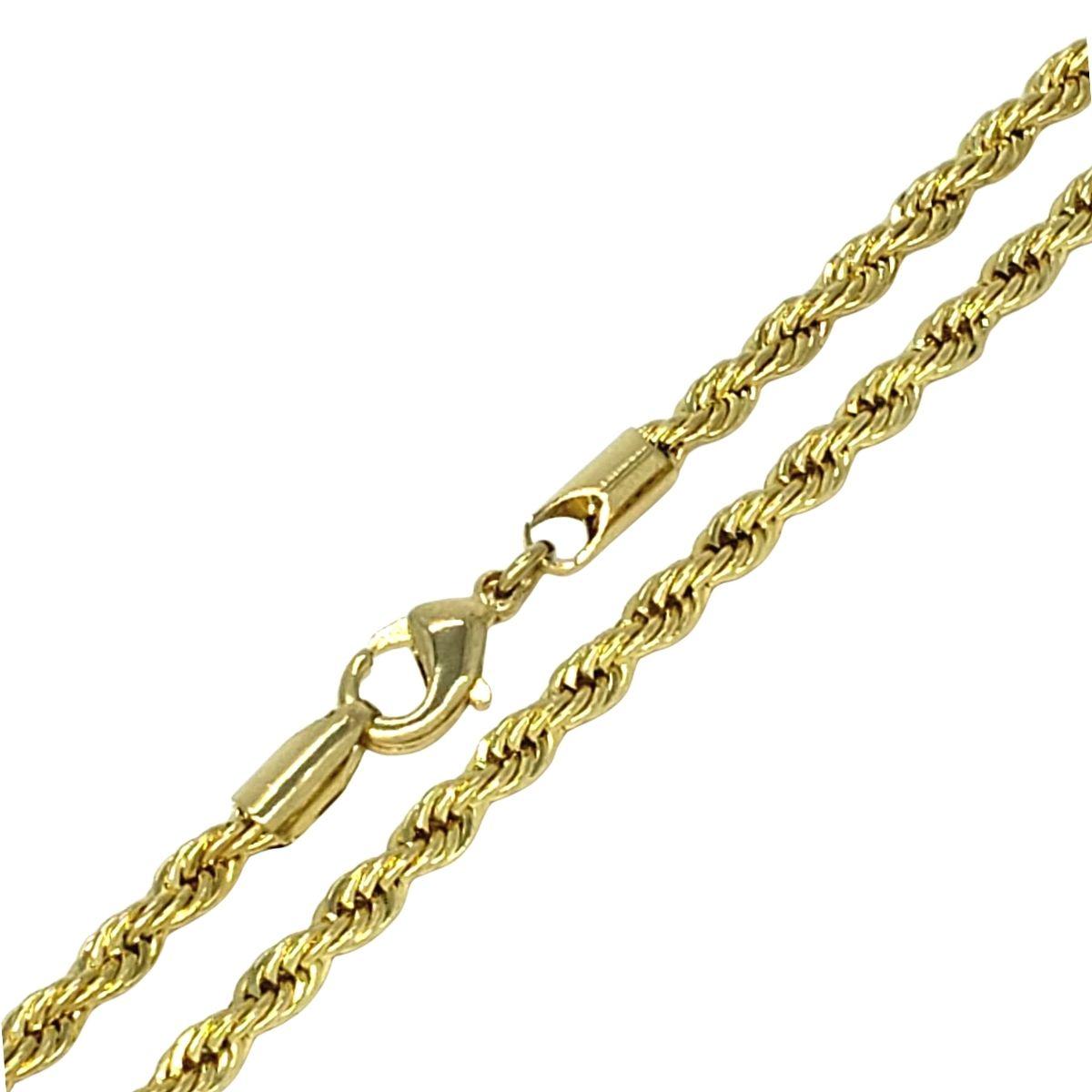 Colar Cordão Baiano 3mm 45cm Banho De Ouro 18k 2376