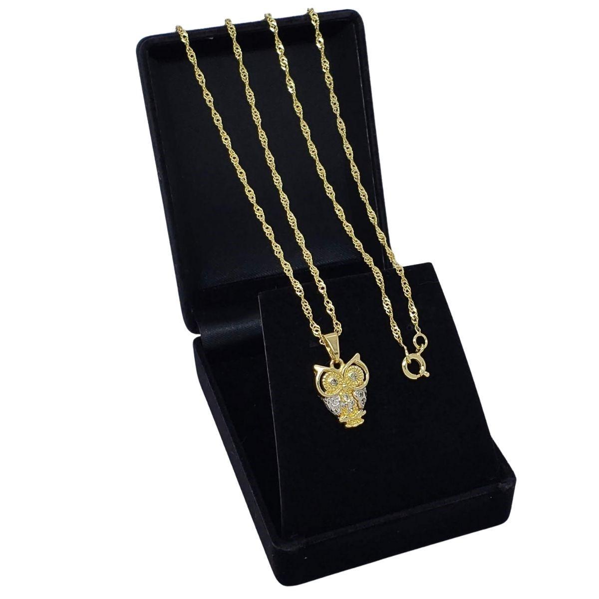 Colar Coruja Com Cravejado Cristal Banho De Ouro 18k 2657