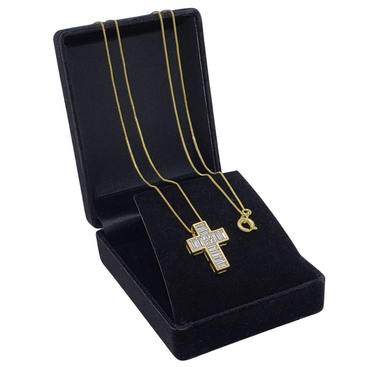 Colar Cruz Zirconias Baguete E Cravejado Banho De Ouro 18k 2585