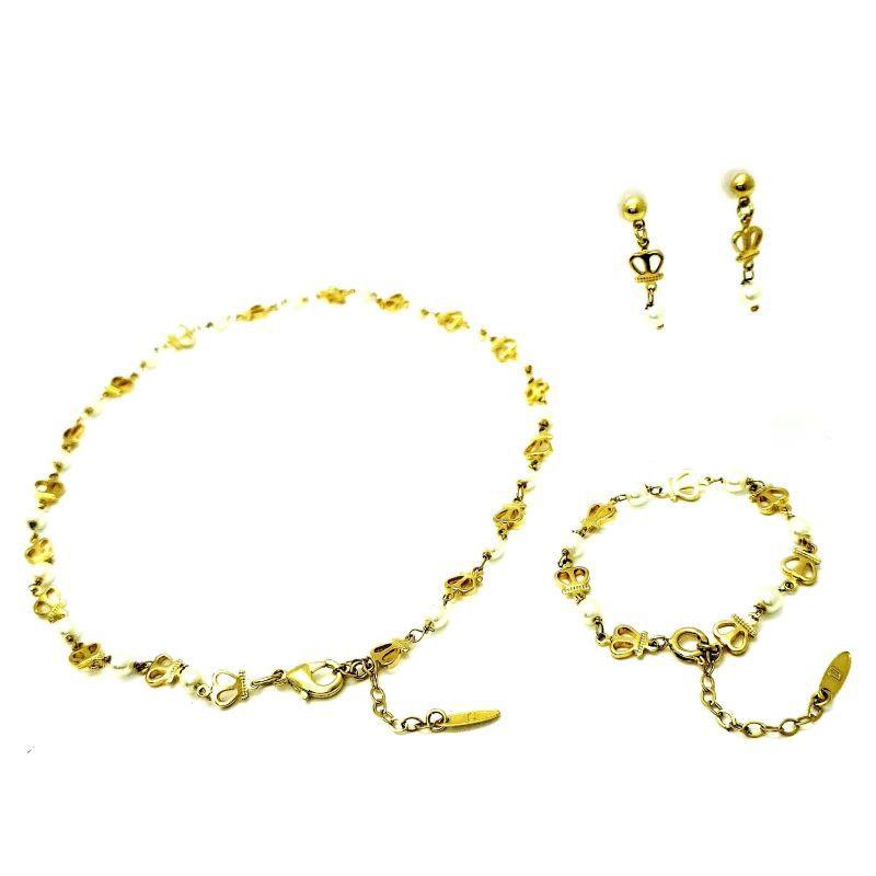 Colar De Pérolas Brincos Pulseira Tal Mãe Tal Filha Banhados A Ouro 18k 1290 1315 1405