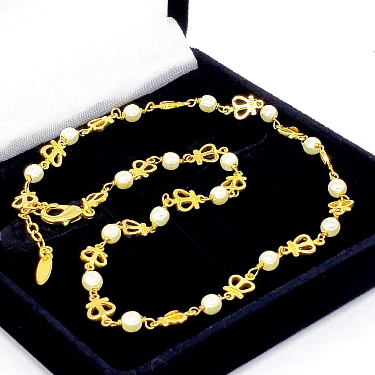 Colar De Pérolas E Coroas Em Banho De Ouro 18k 1290