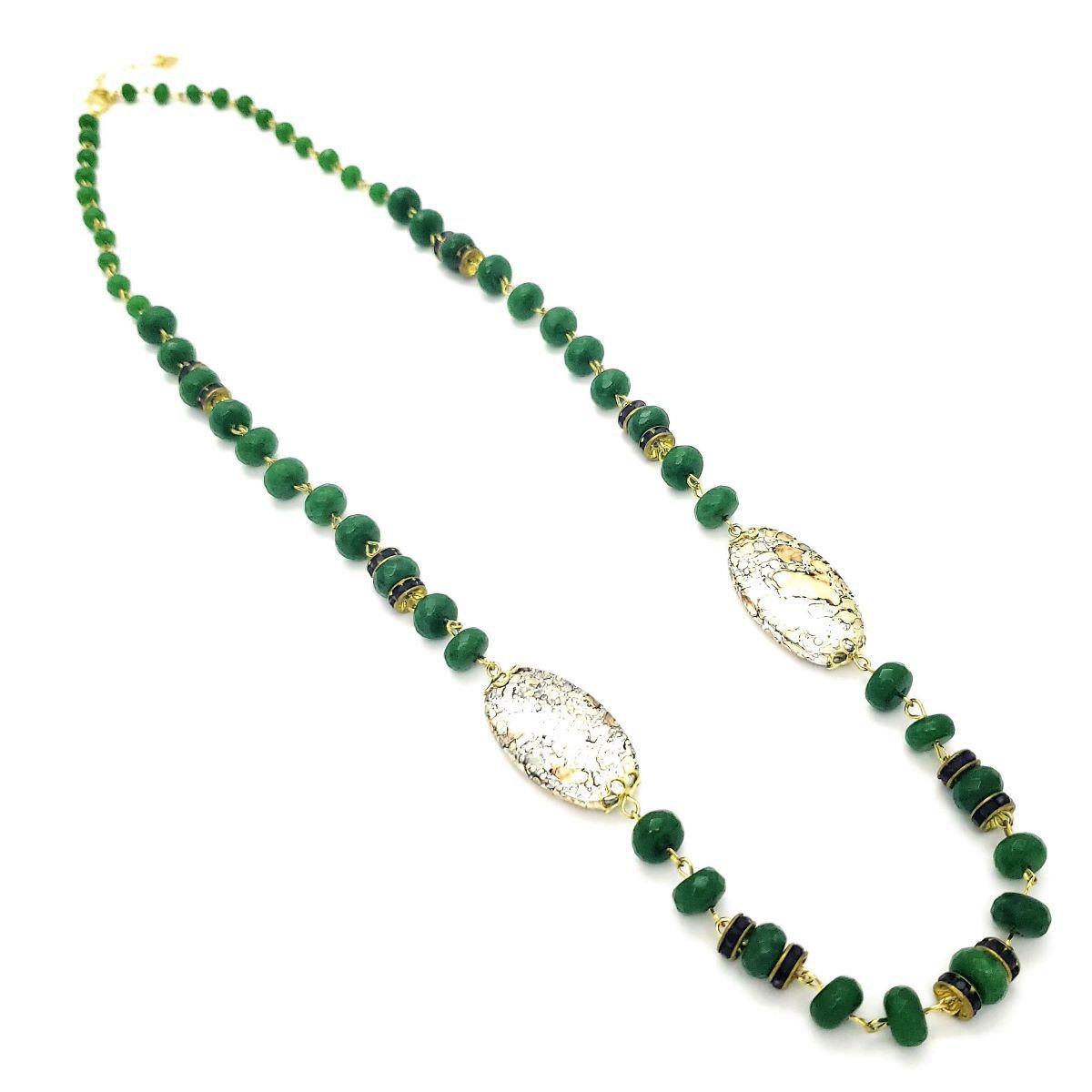 Colar Com Pedra Jade Esmeralda E Rondéis Ametista 80cm Banho De Ouro 18k 4505