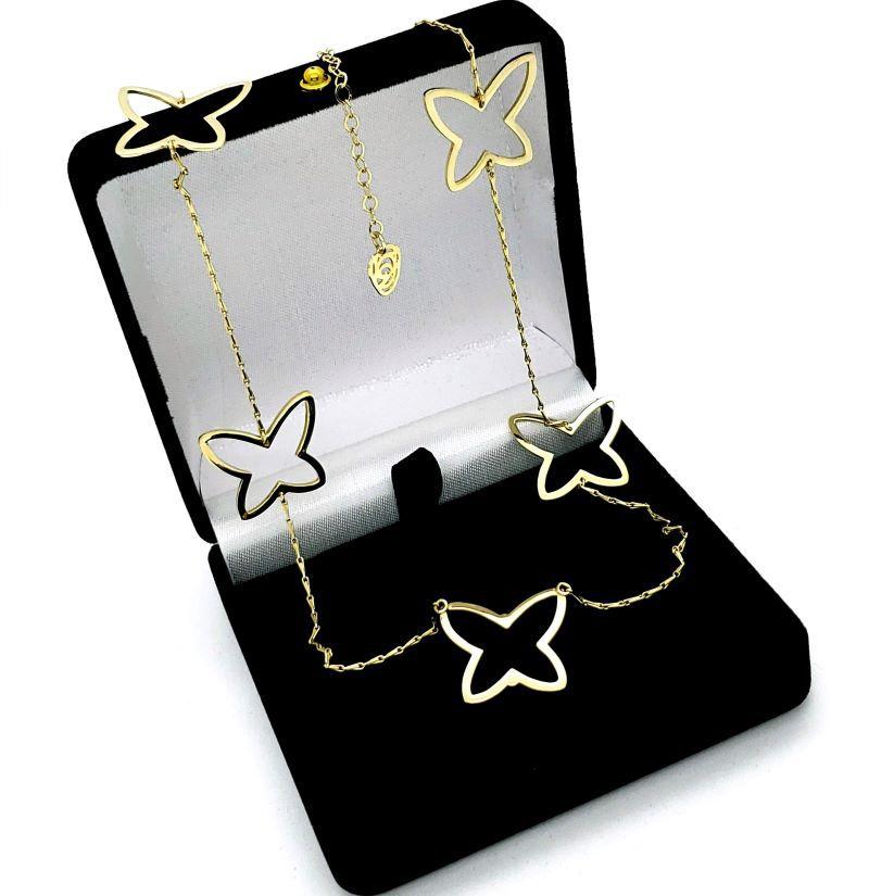 Colar Papillon 5 Borboletas Banho De Ouro 18k 846