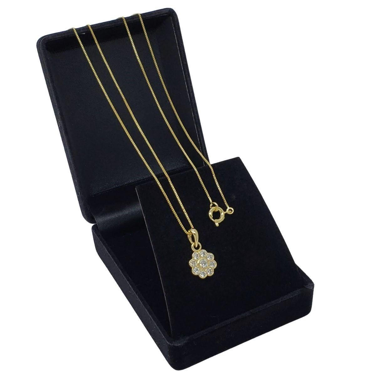 Colar Pingente Flor De Cristal Banho De Ouro 18k 2655