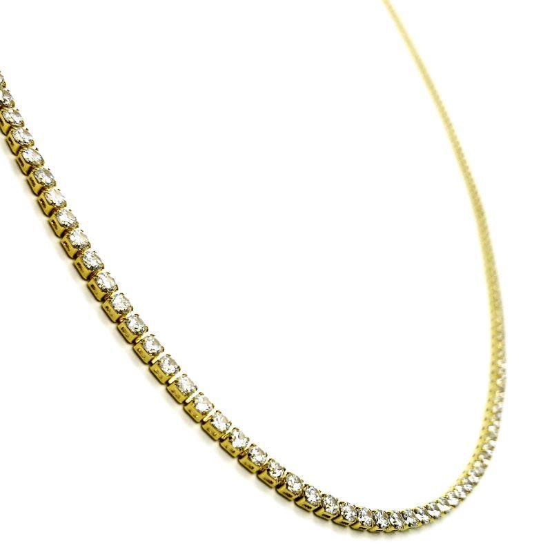 Colar Riviera Zirconias Cristal 90cm Banho De Ouro 18k 4128