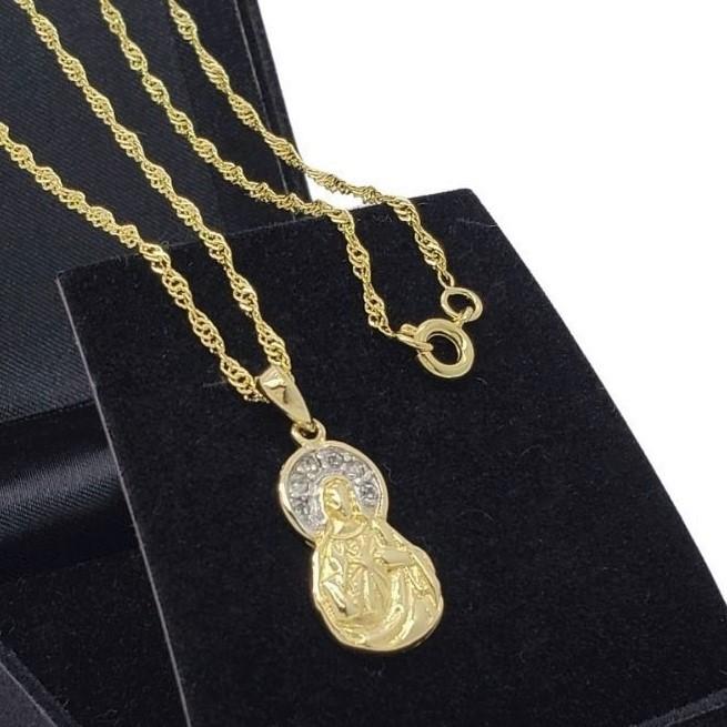 Colar Sagrado Coração De Maria Cravejado Banho De Ouro 18k 2658