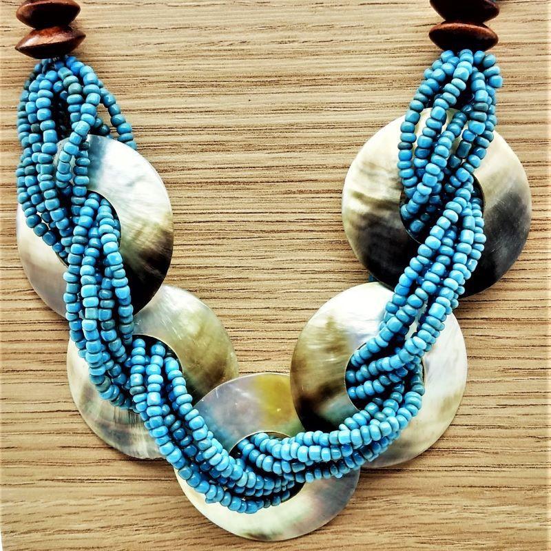 Colar Trançado Abalone Contas Azul Turquesa 1724