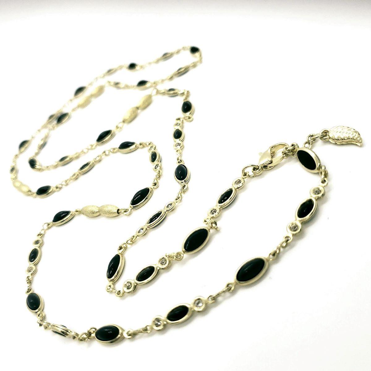 Colar Zirconias E Navetes Negras Com Entremeios Arroz 85cm Banho De Ouro 18k 4678