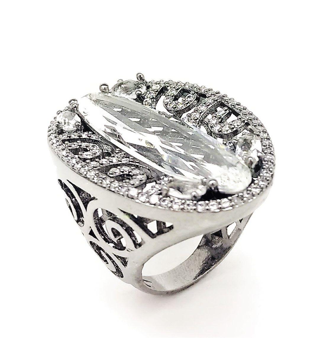 Conjunto De Anel  Brincos E Cordão Com Pingente Cristal De Rocha Cravejados Ródio Negro 4040 4041 4042