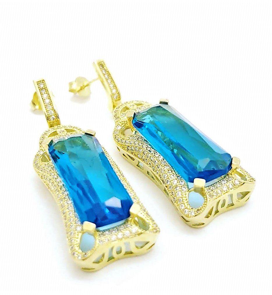 Conjunto Anel E Brincos Cristais Azul Topázio Cravejado Zirconias Banho Ouro 18k 2389 2390