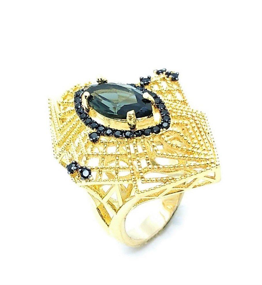 Conjunto De Brinco E Anel Cristal Fumée Cravejados Banho De Ouro 3781 3782