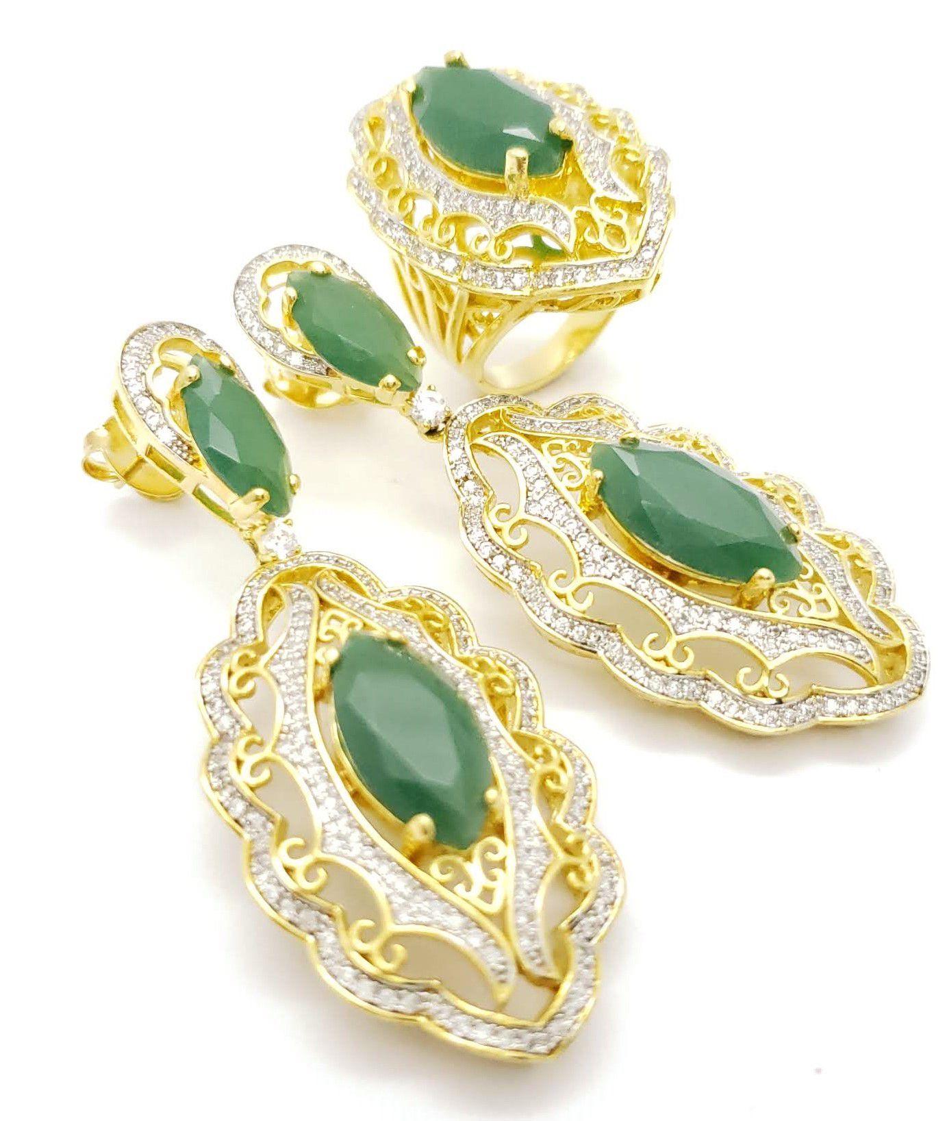 Anel E Brincos Cristal Verde Esmeralda Cravejados  Banho De Ouro 18k 3864 3865