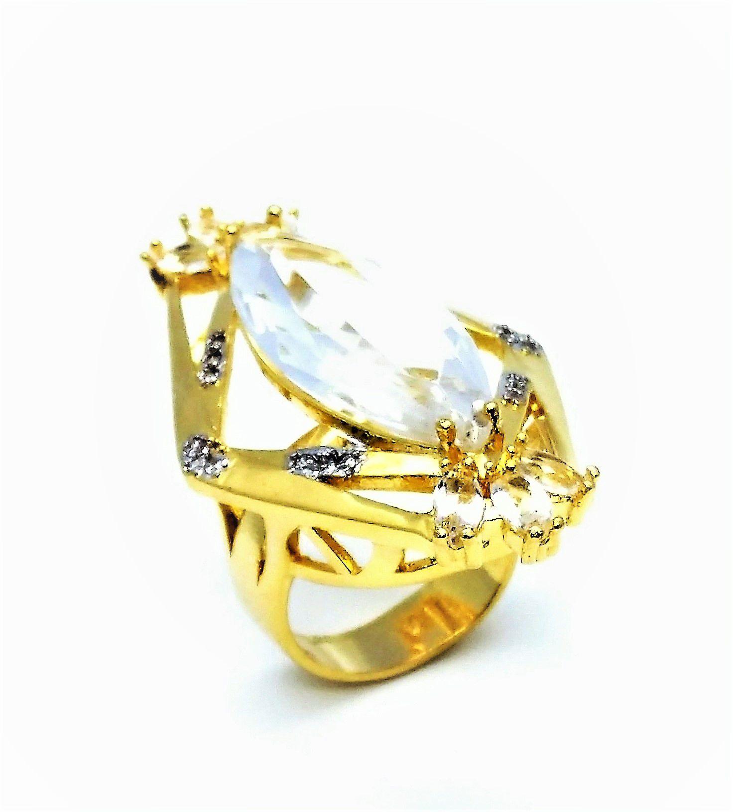 Conjunto Anel e Brincos Cristal De Rocha Cravejados Banho De Ouro 18k 3379 3380