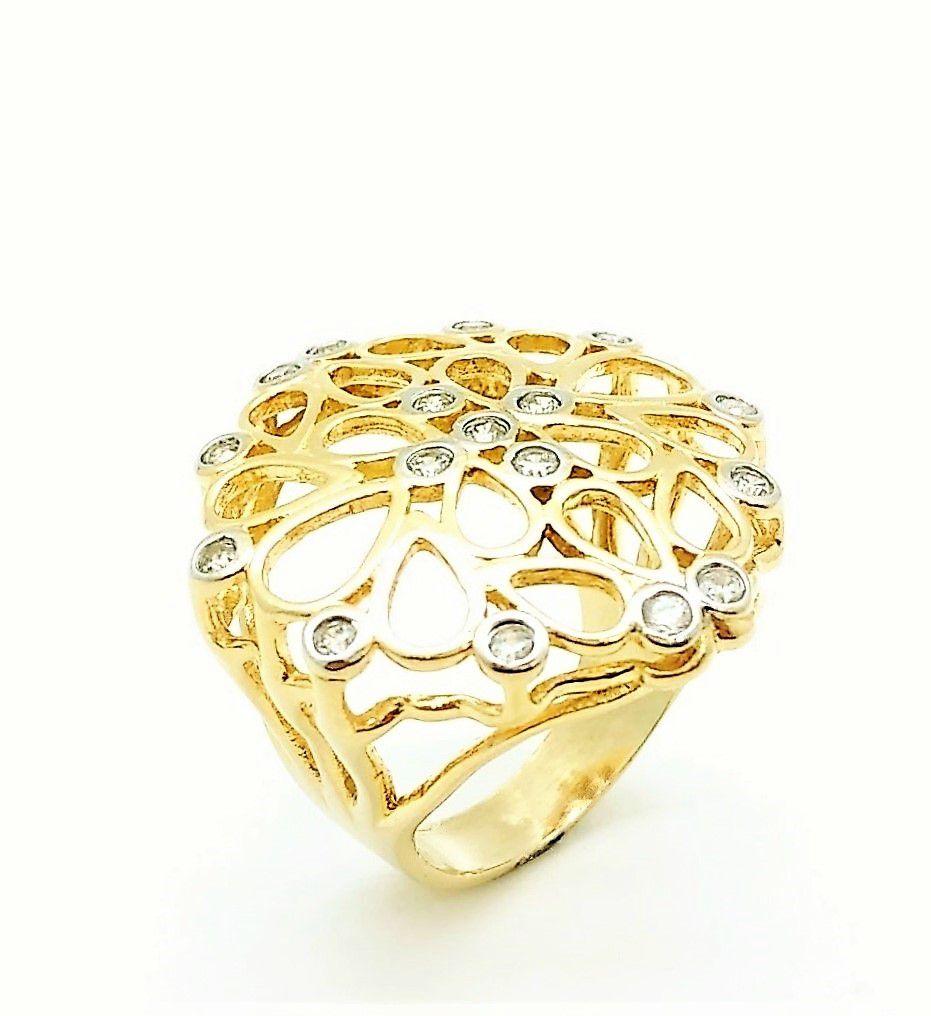 Anel e Brincos Gotas Com Cravejado De Zirconias Banho De Ouro 18k 3779 3780