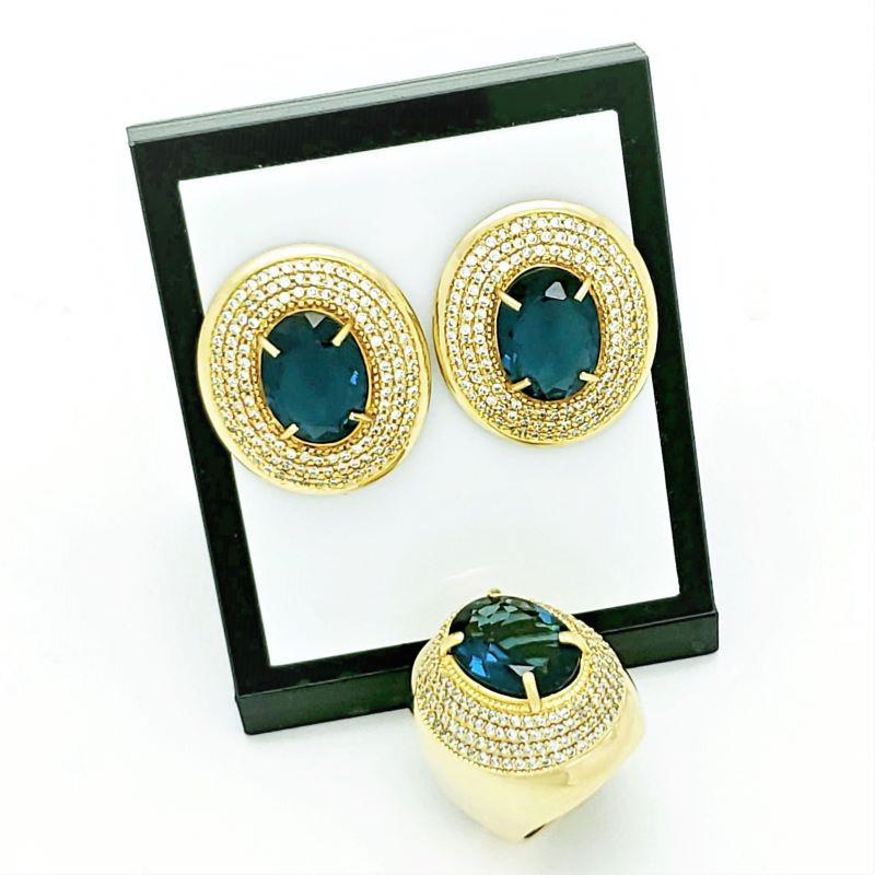 Anel E Brincos London Blue Cravejados De Zirconias Banhados A Ouro 18k 796 1116