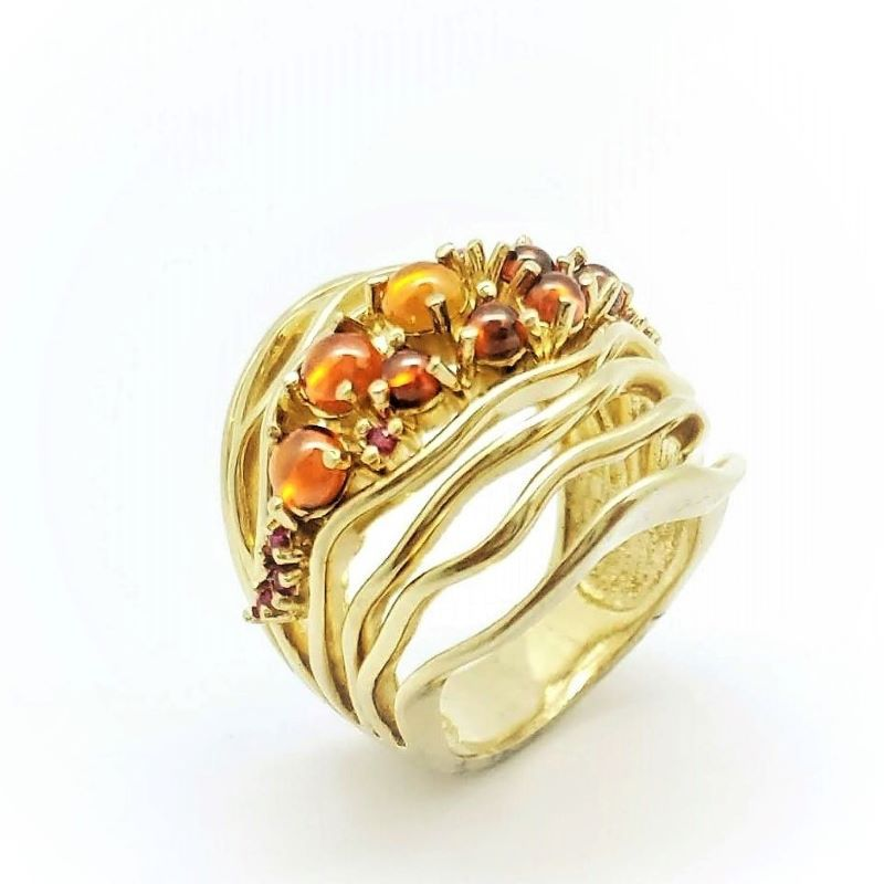 Anel E Brincos De Pedras Cravejados De Zirconias Banho De Ouro 18k 869 870