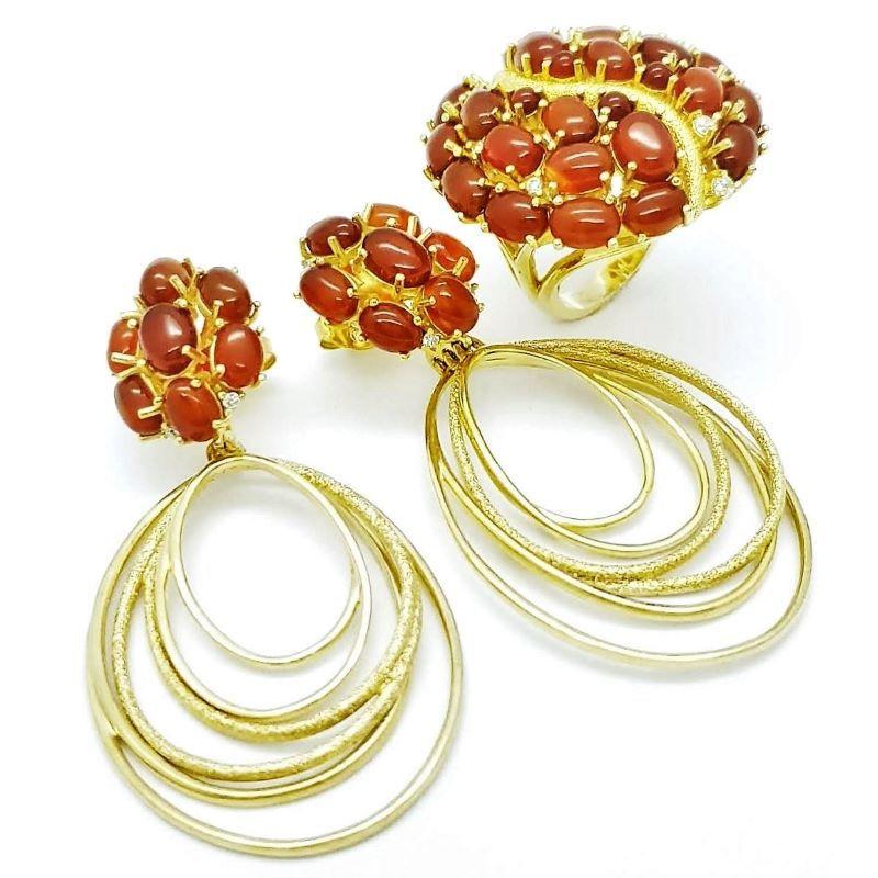 Anel E Brincos Pedras Naturais Cravejados De Zirconias Banhados A Ouro 18k 873 874