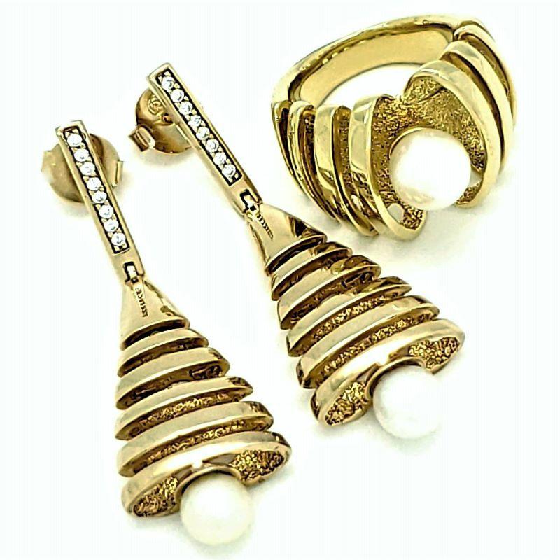 Anel E Brincos Pérola Cravejados De Zirconias Banhados A Ouro 18k 871 872