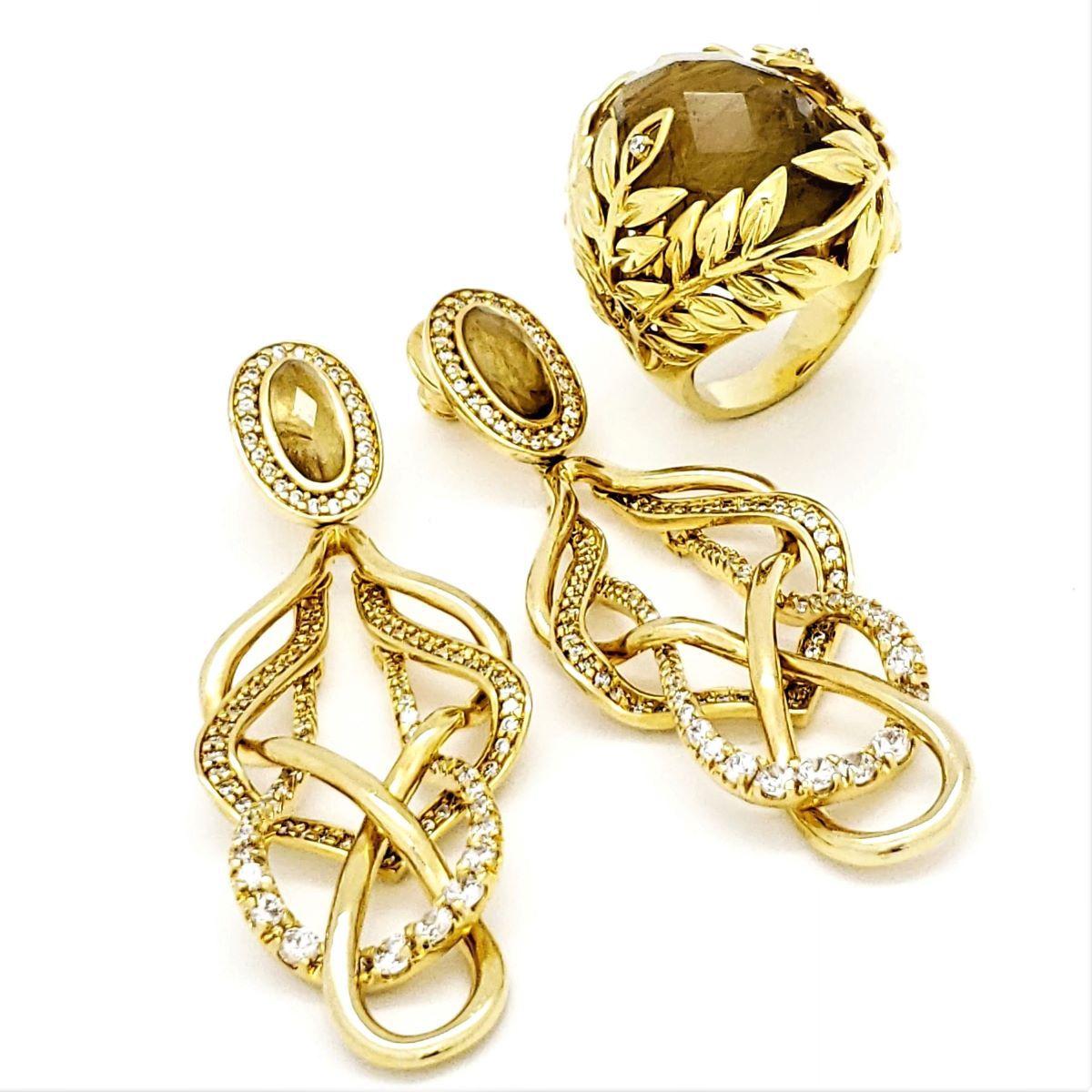 Anel e Brincos Rutilo Natural Cravejado Zirconias Banho Ouro 18k 797 856