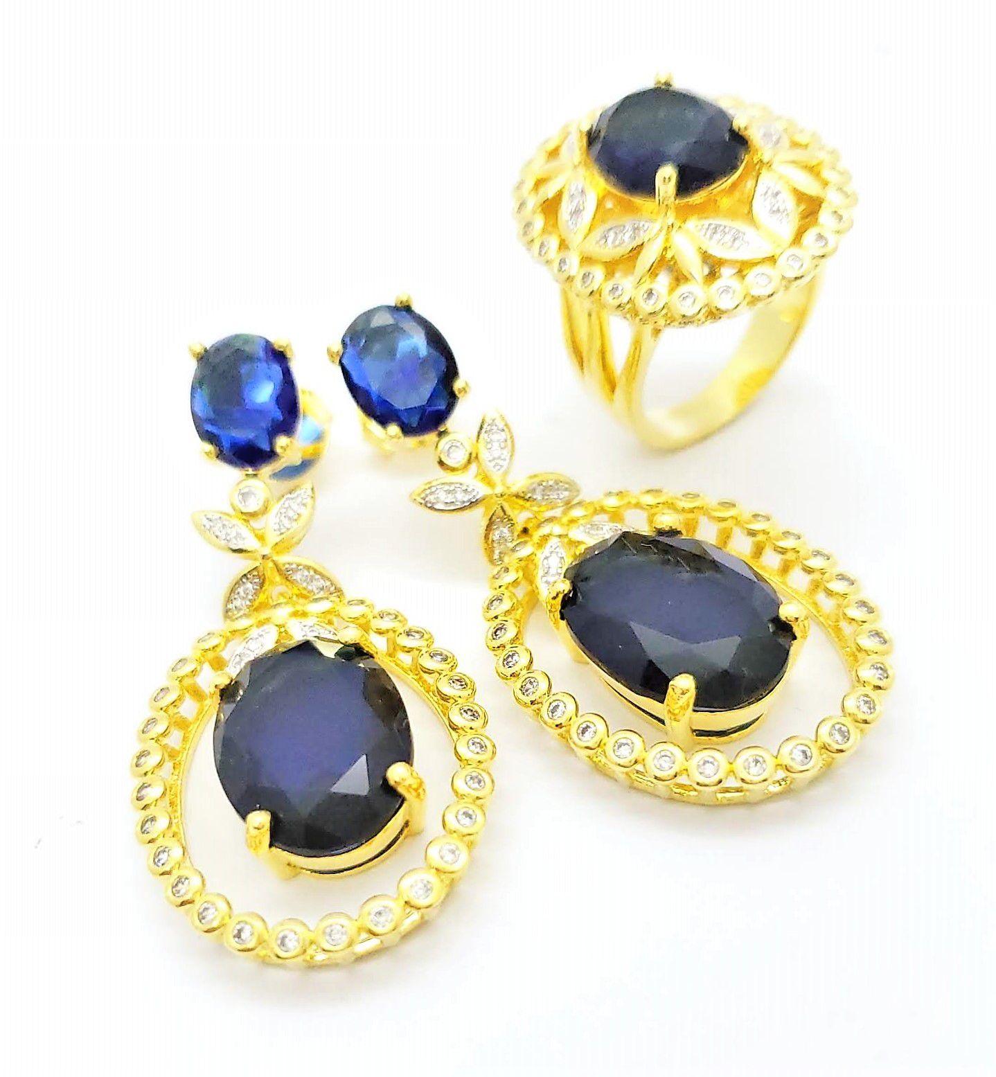 Anel E Brincos Azul Safira Cravejado Banho De Ouro 18k 3866 3867
