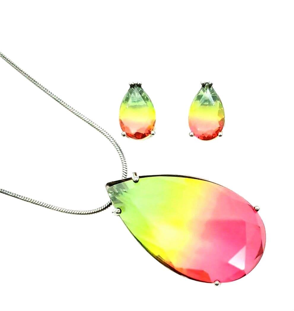 Conjunto Cordão Pingente E Brincos Gota Rainbow Melancia Ródio Negro 4629