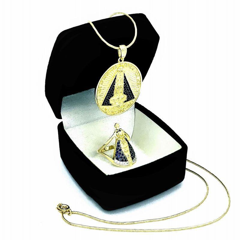 Anel E Colar Com Medalha Nossa Senhora Aparecida Cravejados Banhados A Ouro 18k 4578 4724
