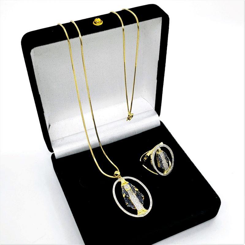 Anel E Colar Com Medalha Nossa Senhora Das Graças Cravejados Banho De Ouro 18k 4329 4747