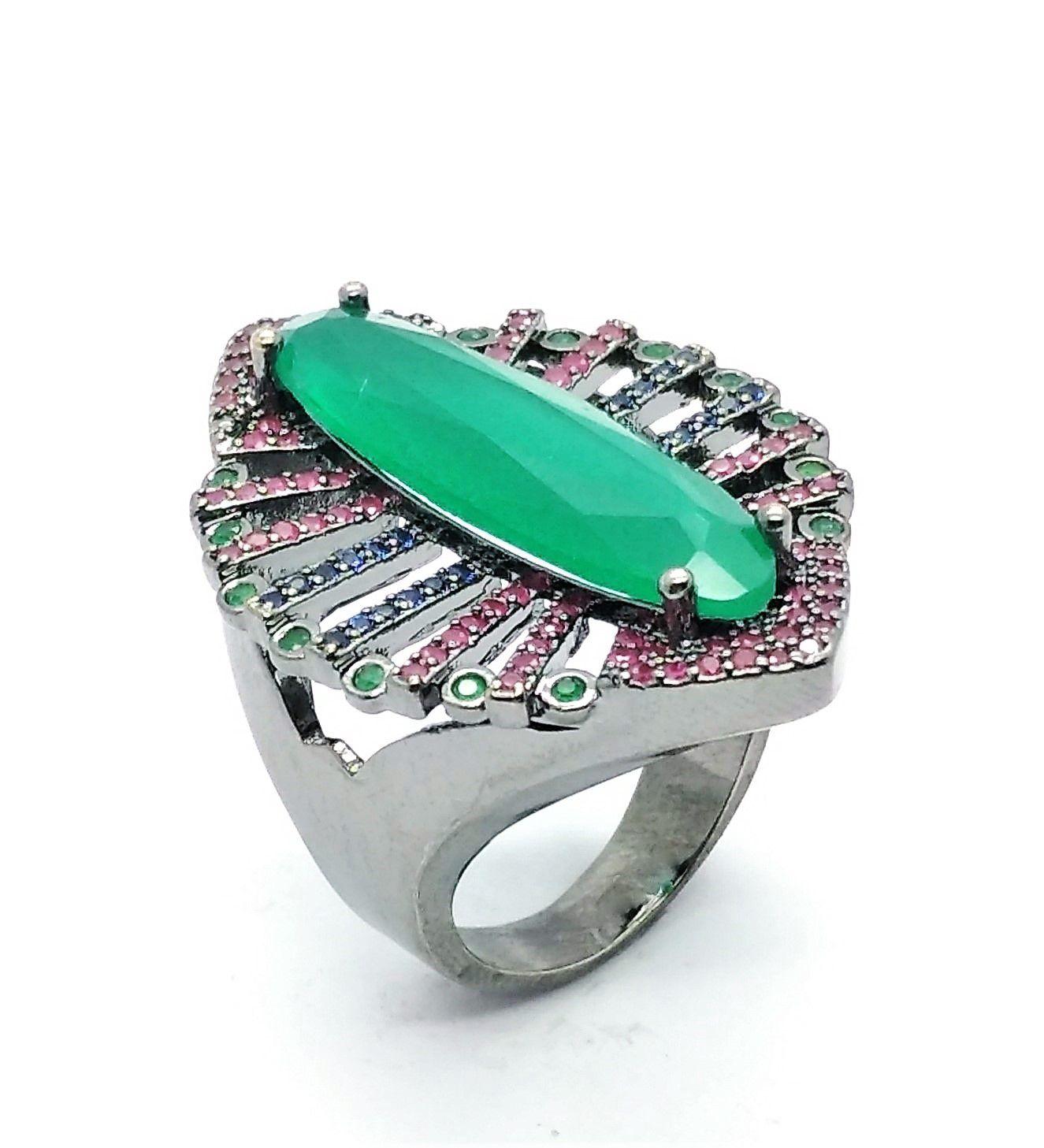 Anel E Brincos Verde Esmeralda Cravejados De Zirconias Em Ródio Negro 4006 4007
