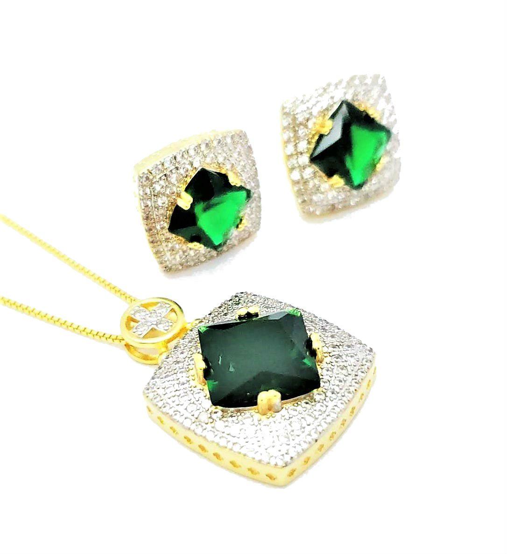 Brincos e Colar Cristais Verde Esmeralda Cravejado Zirconia Cristal Banho De Ouro 18k 4631