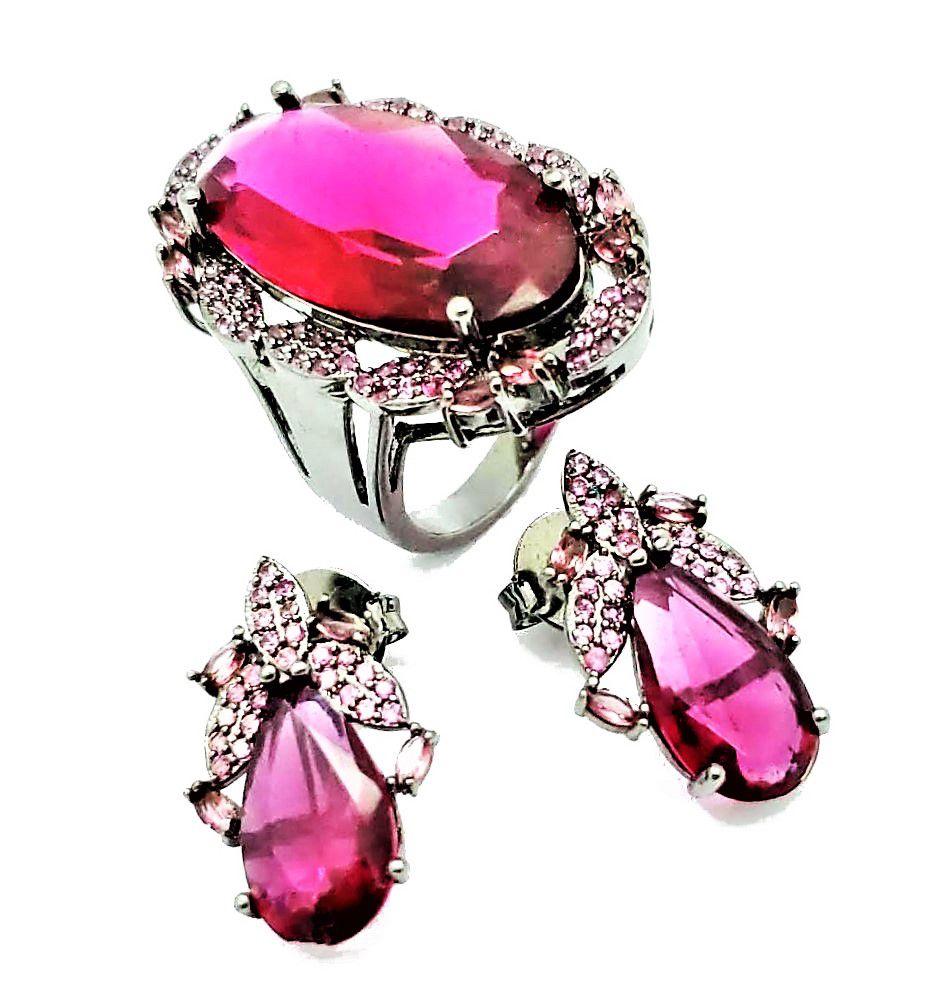 Anel E Brincos Vermelho Rubelita Com Cravejado Pink Em Ródio Negro 4242 4243