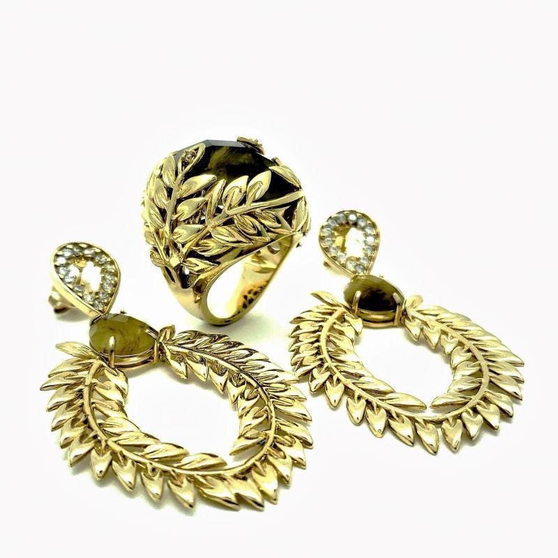 Anel E Brincos Di Roma Rutilo Cravejados De Zirconias Banho De Ouro 18k 855 856