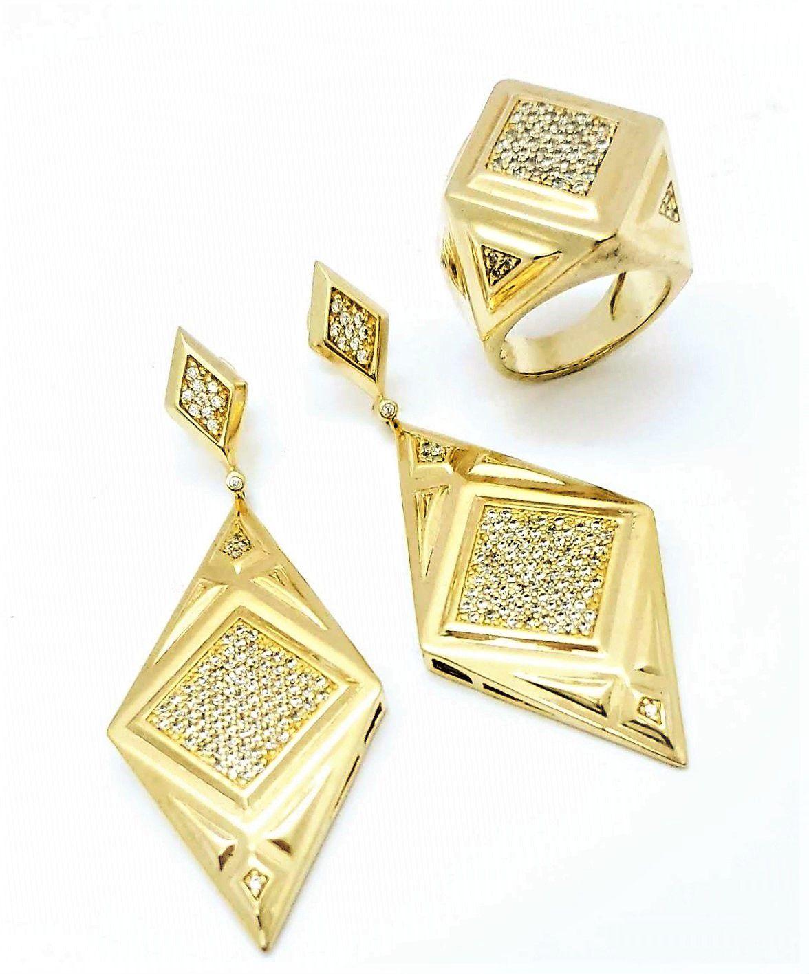 Anel e Brincos Dimensions Cravejados De Zirconia Banho De Ouro 18k 754 755