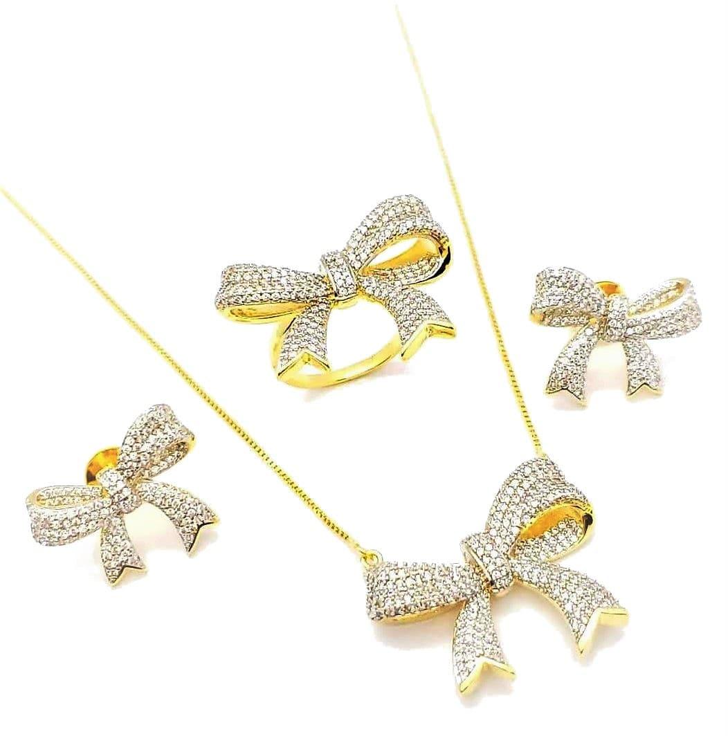 Anel E Brincos Cordão E Pingente Laços Cravação Pavé Zirconia Cristal Banho De Ouro 18k 4588