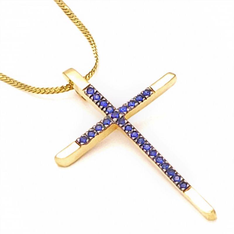 Cordão Com Crucifixo Cravejado De Zirconias Banho De Ouro 18k 2943
