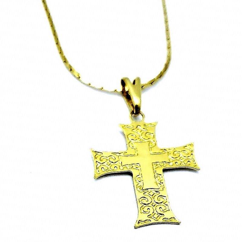 Cordão Com Cruz De Malta Banho De Ouro 18k 1632