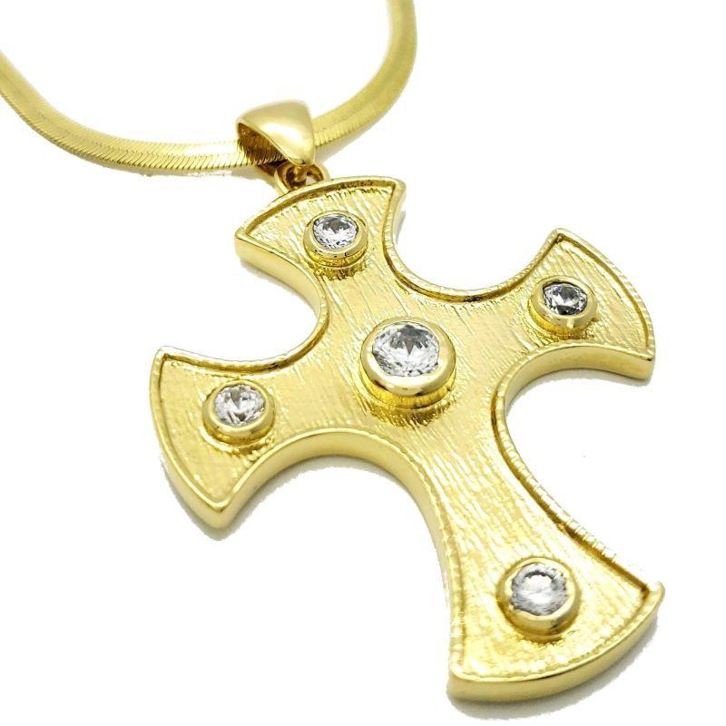 Cordão Com Cruz Portuguesa Cravejada Banho De Ouro 18k 1132