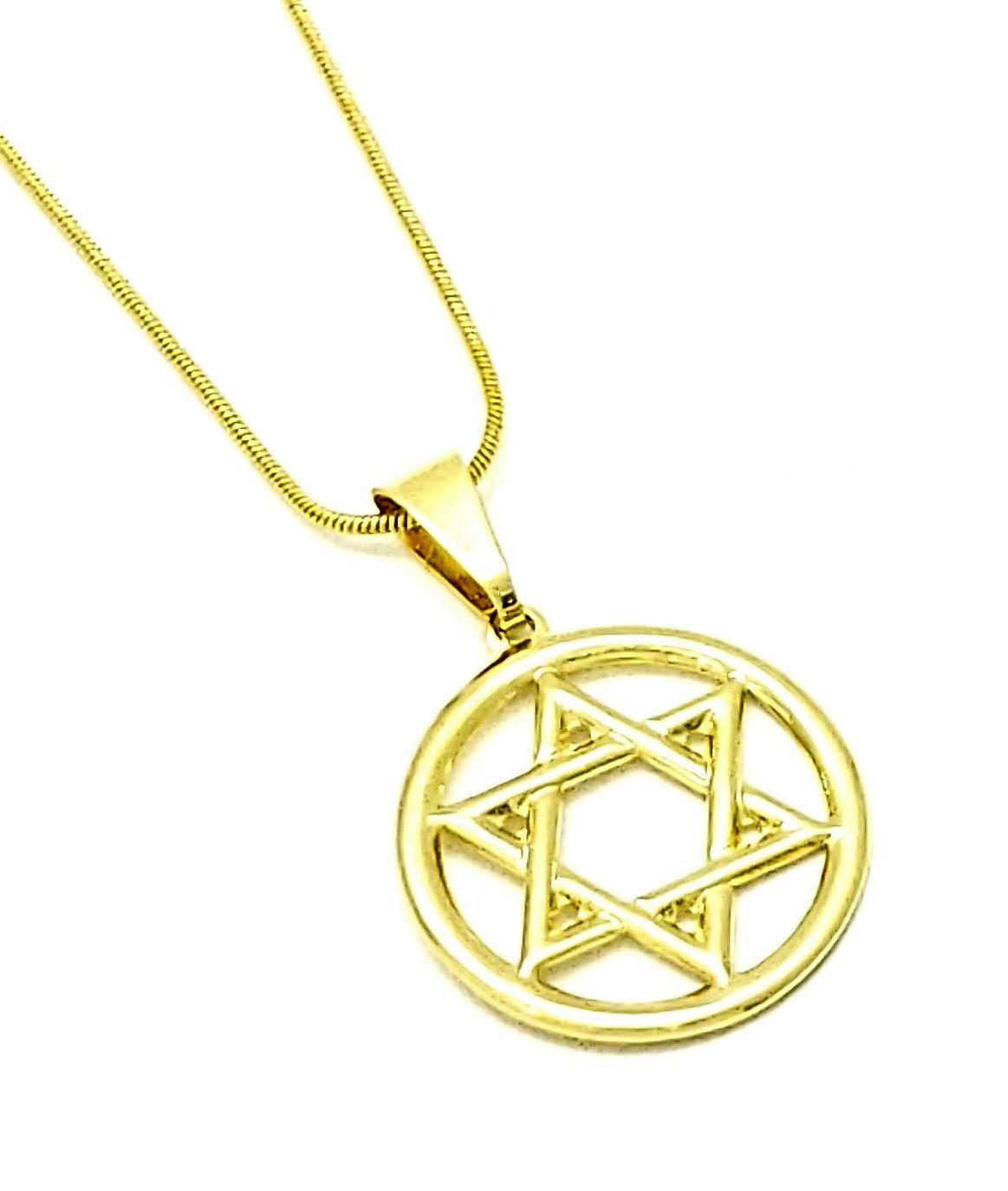 Cordão Com Estrela De David 80cm 4363 Banho De Ouro 18k