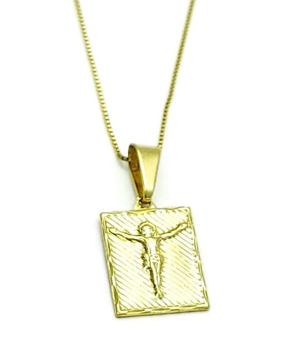 Cordão Com Medalha Crucifixo Banho De Ouro 18k 501