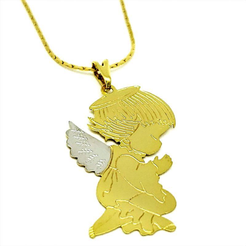 Cordão Com Pingente Anjinho Banho De Ouro 18k 3290
