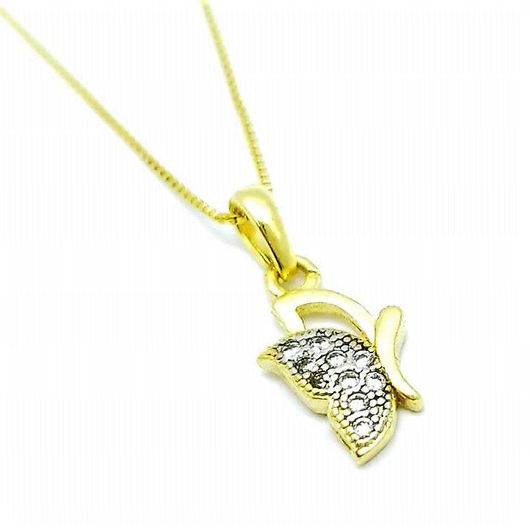 Cordão Com Pingente Borboleta Cravejado Zirconias Banho Ouro 18k 4078