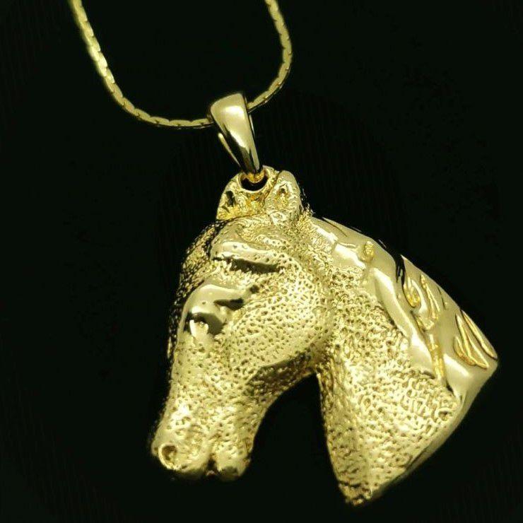 Cordão Com Pingente Cabeça De Cavalo Banho De Ouro 18k 1559