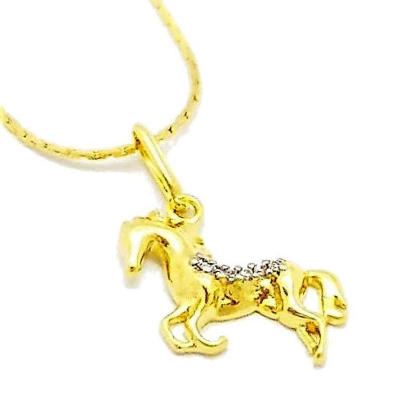 Cordão Com Pingente Cavalo Cravejado Banho De Ouro 18k 4651