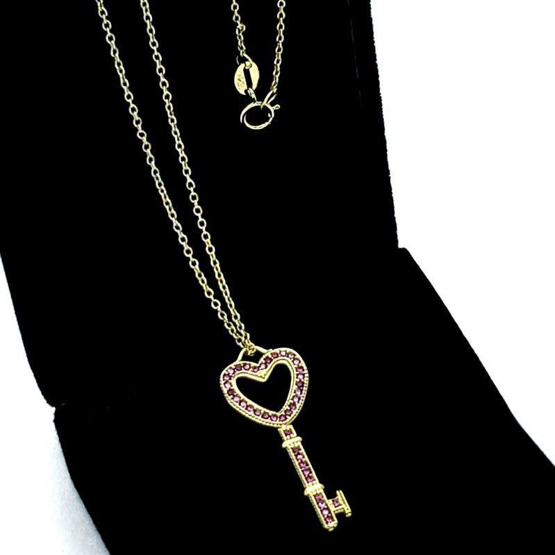 Cordão Com Pingente Chave Cravejado De Zirconias Em Prata No Banho De Ouro 18k 1672